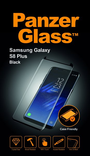 PanzerGlass - Tempered Glass Case Friendly for Samsung Galaxy S8 Plus, Black