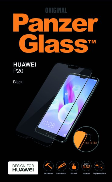PanzerGlass - Tempered Edge-to-Edge Glass for Huawei P20, black