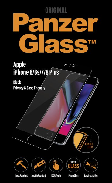 PanzerGlass - Tempered Glass, Case Friendly, Privacy for iPhone 8/7 / 6S / 6 Plus, Black