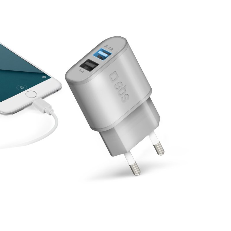 SBS - Gold Collection - Fast Charger Travel Charger, 2x USB 2100 mAh, 100 / 250V, Silver