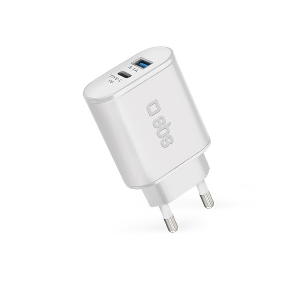 SBS - Travel adapter with Power Delivery USB / USB-C, 18W, white