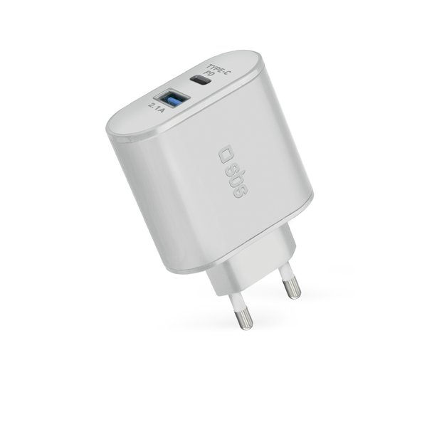 SBS - Travel adapter with Power Delivery USB / USB-C, 30W, white