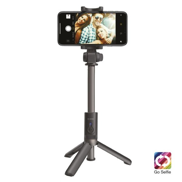 SBS - Selfie rod with wireless tripod, universal for iOS and Android, aluminum telescopic arm, rubber finish, black color