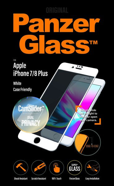 PanzerGlass - Tempered Glass Privacy, CaseFriendly, CamSlider for iPhone 8/7 Plus, White