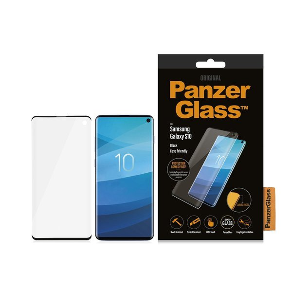 PanzerGlass - Tempered Glass Case Friendly for Samsung Galaxy S10, Black