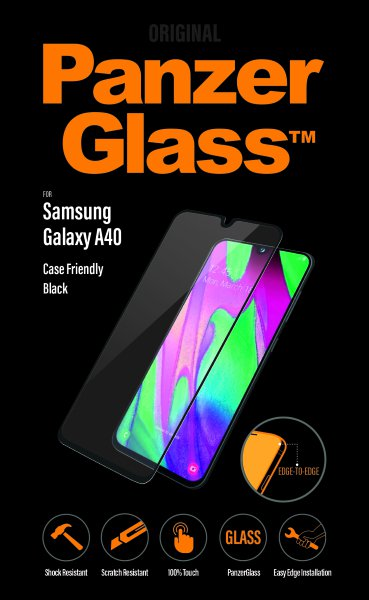 PanzerGlass - Tempered Glass Case Friendly for Samsung Galaxy A40, Black