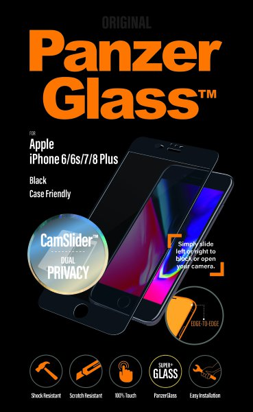 PanzerGlass - Tempered Glass Privacy, Case Friendly, CamSlider for iPhone 8/7 / 6S / 6 Plus, Black