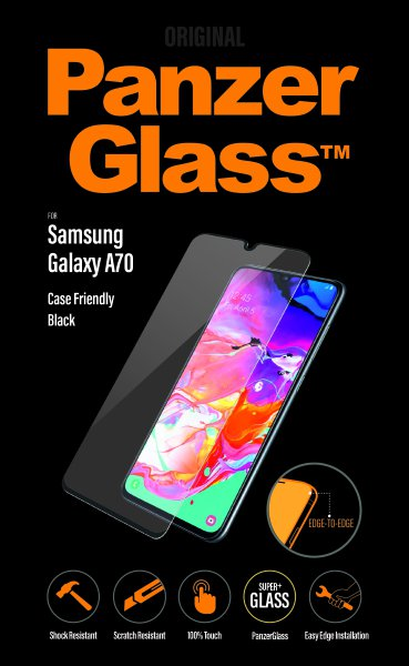 PanzerGlass - Case Friendly Tempered Glass for Samsung Galaxy A70, black