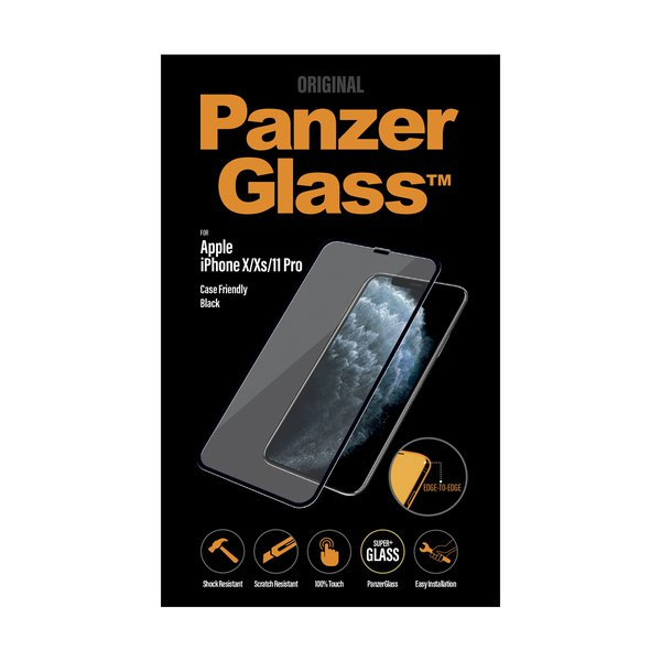 PanzerGlass - Tempered Glass Case Friendly for iPhone 11 Pro / Xs / X, Black