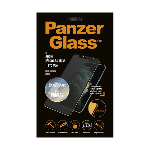 PanzerGlass - Tempered Glass Case Friendly CamSlider Privacy for iPhone 11 Pro Max / Xs Max, Black