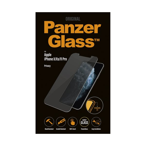 PanzerGlass - Tempered Glass Privacy for iPhone 11 Pro / Xs / X, Clear