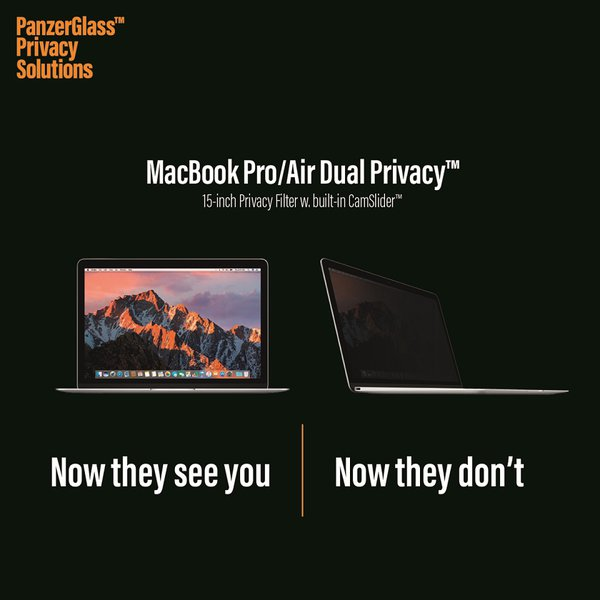 PanzerGlass - Tempered Glass Dual Privacy 15 '' for MacBook Pro, Black