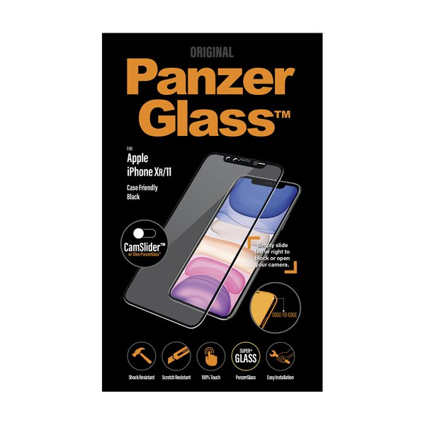 PanzerGlass - Tempered Glass Case Friendly CamSlider for iPhone 11 / XR, Black
