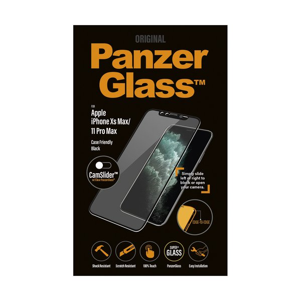 PanzerGlass - Tempered Glass Case Friendly CamSlider for iPhone 11 Pro Max / XS Max, Black