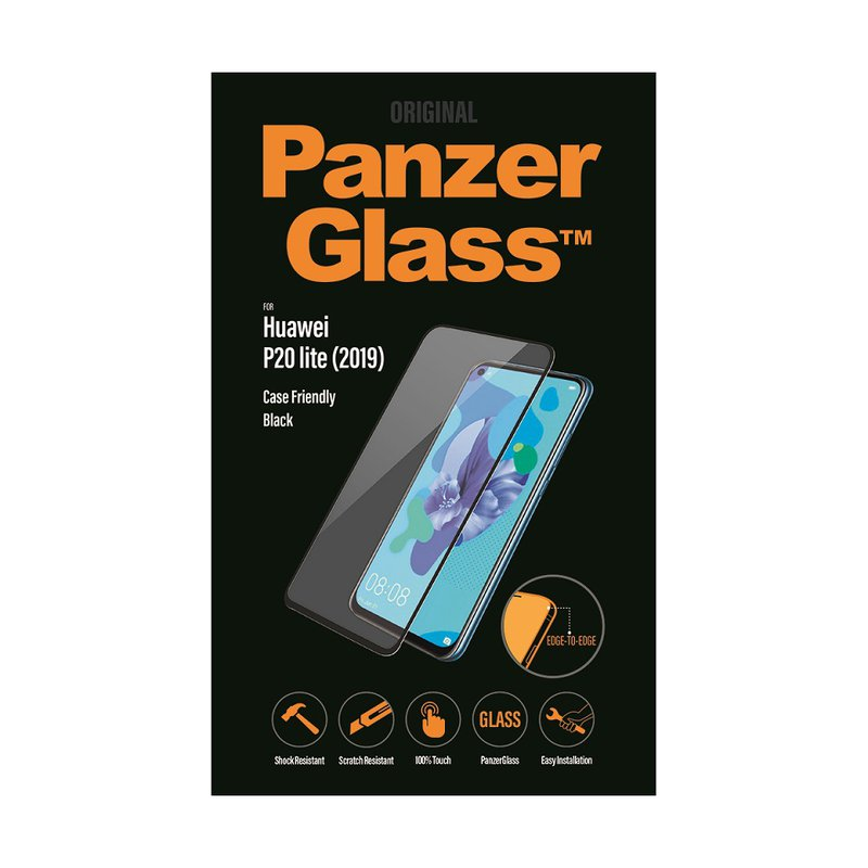 PanzerGlass - Tempered Glass Case Friendly for Huawei P20 Lite 2019, Black