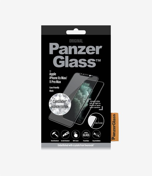 PanzerGlass - Tempered Glass Case Friendly CamSlider Swarovski for iPhone 11 Pro Max / XS Max, Black
