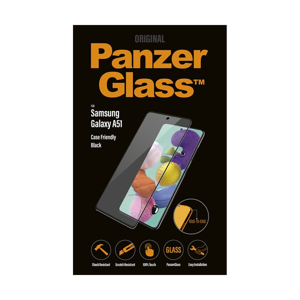 PanzerGlass - Tempered Glass Case Friendly for Samsung Galaxy A51, Black