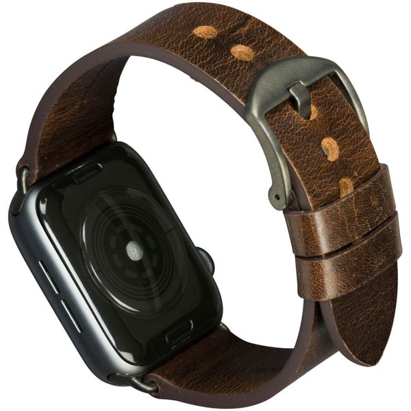 MODE - Leather bracelet Bornholm for Apple Watch 44 mm, dark brown / space gray