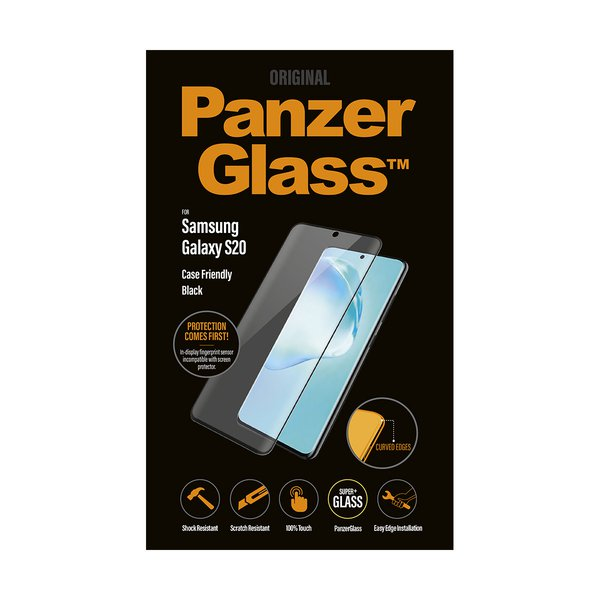 PanzerGlass - Tempered Glass Case Friendly for Samsung Galaxy S20, Black