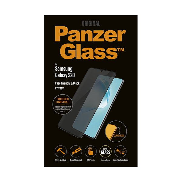 PanzerGlass - Tempered Glass Case Friendly Privacy for Samsung Galaxy S20, Black