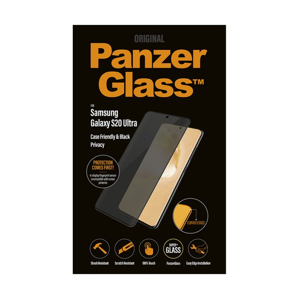 PanzerGlass - Tempered Glass Case Friendly Privacy for Samsung Galaxy S20 Ultra, Black