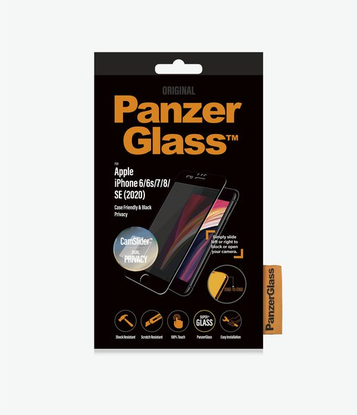 PanzerGlass - Tempered Glass Privacy, Case Friendly, CamSlider for iPhone SE 2020/8/7/6s/6, Black