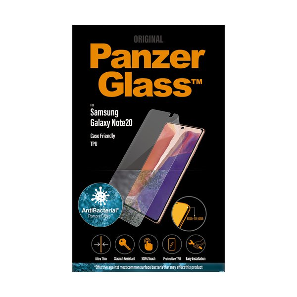 PanzerGlass - Case Friendly Tempered Glass for Samsung Galaxy Note20, TPU, Black